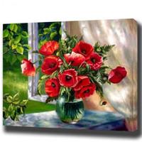 Peinture à l'huile sans cadre de bricolage By Numbers Fleurs Photos peinture sur toile pour le salon Wall Art Accueil fête d'anniversaire cadeau