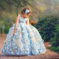 جميلة الكرة ثوب الأميرة زهرة فتاة فساتين ل حفل زفاف 3d الزهور appliqued طفل أثواب الطابق طول plffy تول الاطفال حفلة موسيقية اللباس
