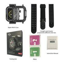 كامل الجسم المحمية ماء كامل القضية ضد الصدمات يختم تغطية لتفاح حزام Watchstrap iwatch سلسلة 3 42MM وسلسلة 4 44MM IP68