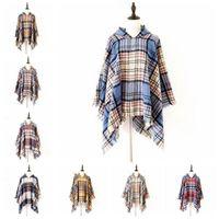 Plaid Poncho Tassel capuche Châle Foulard Wraps Vintage Fashion hiver Cape Grille Cardigan Cape Manteau Pull filles en tricot Tartan Echarpes CZYQ6896