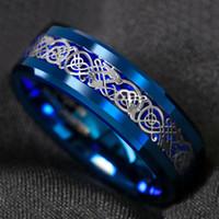 8mm 블루 텅스텐 카바이드 반지 실버 셀틱 용 탄소 섬유 링 남성 웨딩 밴드 크기 6-13