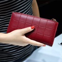 Crazy2019 Women Leather Purse Plaid Wallets Long Ladies Colo...