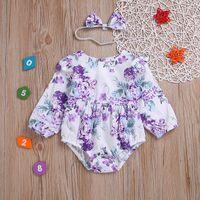 Vieeoease filles Florper Romper INS vêtements de bébé 2019 printemps mignon barboteuses avec bandeau CC-120