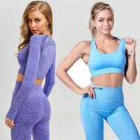 Transparente 2 femmes Piece Yoga Gym Set Vêtements Leggings Fitness + recadrée Soutien-gorge sport Costume Femme manches longues Survêtement Active Wear T200615
