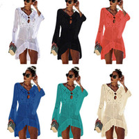 Bikini Mulheres Tampa Ups Moda Sólidos Knitting oco Out Pareo Ladies V Collar Beach Dress Verão Sunscreen Swimwear Scarf Shawl 05