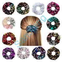 Frauen Mädchen Mermaid Pailletten Glitters Scrunchy Reversible Flip Sequined Scrunchies Haarbänder Glänzende Seil-Pferdeschwanz-Krawatte Haar-Halter GiftD3905