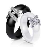 Vintage Fashion Ceramic Ring Black  White Double Cross Ring ...
