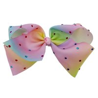 Kids Fashion Hair Accessories Girls Rainbow Hair Bows hairpi...