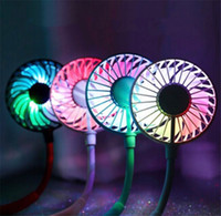 Hang collo ventilatore di sport di ricarica USB mini doppia ventola di raffreddamento colorato 360 gradi di rotazione con luce con 30pcs aromaterapia / lot