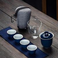 Дорожная сумка Китайский кунг-фу Чайный сервиз Gaiwan Чайник Чайные ярмарка Кружка чая Наборы белый Путешествия Чайный сервиз Drinkware Teaware Наборы