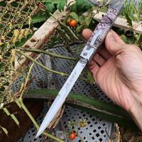 Nuevo cuchillo de 11 pulgadas de la mafia italiana automática por el frente AUTO táctico cuchillo 440C cuchillos 58HRC de satén de un solo filo de la hoja de bolsillo EDC