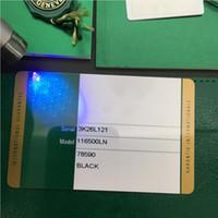 Tarjeta de garantía de seguridad verde Modelo de impresión personalizado Número de serie Dirección en la tarjeta de garantía Caja de reloj para cajas Rolex Relojes Etiquetas