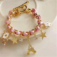 Moda Braceletes para as Mulheres Gold Star Crystal Tower Eiffel Pôquer Flor Bangle Mulher corda trançada de couro Pulseira de Punho meninas jóias
