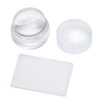 2pcs / set 3.8cm Stor klar transparent Silikon Jelly Stamper med Cap Nail Art Stamper + Scraper Lätt att rengöra nagellverktyg