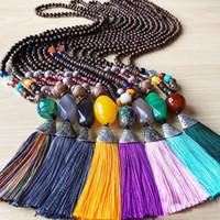 새로운 보헤미안 나무 구슬 체인 천연 돌 긴 목걸이 다채로운면 프린지 술 목걸이