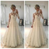 2019 높은 목 긴 소매 레이스 Appliques A 라인 웨딩 드레스 겸손 긴 신부 가운 Vestidos 드 결혼 이슬람 저렴한