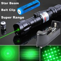 Potente penna verde del laser 2in1 Pointer protezione della stella 5mw 532nm Cat giocattolo militare 009 laser verde Clip da cintura + 18650 Battery +