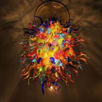Multi Color hecho a mano soplado de Murano lámpara de cristal de lujo de techo de color LED luces decorativas E14 arte moderno de cristal de la lámpara de iluminación