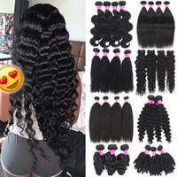 Extensiones del pelo pelo humano brasileño teje 9A bruto Virgen del pelo humano de las tramas de la India Malasia peruana Doble cuerpo de la trama de la onda de lotes
