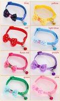 Poliéster collares de perro ajustable tiernas mascotas collares para mascotas con collar del Bowknot y campanas collar para perros collares de gato