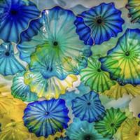 Camino decorazione lampade floreali arti American bocca soffiata in vetro di Murano Lastre di vetro muro arte blu verde giallo illuminazione