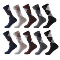 Penye Pamuk Çorap erkek Mürettebat İş Çorap Klasik Düz Renk Ekose Çorap Calcetines De Hombre Bırak Nakliye