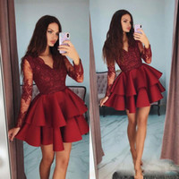 2020 New Red Cocktail Dresses with Lace Appliques Long Sleev...