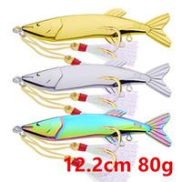 1pcs 3 colori 12.2cm 80g VIB Cucchiaio di ami da pesca Fishhooks 7 # Hook Fishing Lure metallo adesca i richiami Pesca Attrezzatura di pesca B14_21