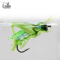 Saltamontes moscas secas pesca con mosca vuela 4pcs / 12pcs Cebos señuelo de pesca de la carpa trucha Muskie Moscas Material de pesca con mosca T200602