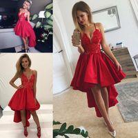 Red High Low Prom Dresses 2019 Sexy Spaghetti Pizzo e abiti da sera satinati Ruffles Abito da cocktail a buon mercato