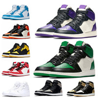 Nike Air Jordan Retro 1 1s الجملة Jumpman 1 1S أحذية نسائية الرجال لكرة السلة الزيتون قماش شيكاغو أعلى 3 الظل UNC ولدت تو لعبة الأزرق الملكي رجل مدرب حذاء رياضة