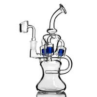 """새로운 디자인 유리 (9) 흡연에 대한 이중 기능 수도관의 물 담배의 14mm 공동 기억 만 PERC 색 인라인과 DAB 장비를 봉 """"키"""