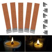 50pcs / lot shiping libero 12.5mm x 150mm Wick di legno della candela con Sustainer Tab Candle Making Suppl50 PCS / lotto 12,5 x 75mm Stoppini di candela di legno Suppli