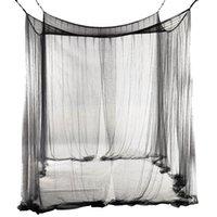 Neue 4-Eck-Bett-Filet-Überdachungs-Moskitonetz für Königin / König Sized Bed 190 * 210 * 240cm (schwarz)