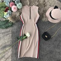 Günlük Elbiseler Okyanuslove Seksi Elbise Panelli Fermuar Örme Kadınlar 2021 Yaz Bodycon Streç Robe Femme Yüksek Bel Mini 12201