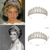 Nova Princesa Diana Coroa de Cristal e Pérola para Acessórios Para o Cabelo de Noiva Do Vintage Nupcial Tiara Crown Wedding Hair Jewelry Real