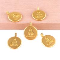23385 20PCS cor do ouro encantos circular cartão Buddha pendente para fazer jóias Acessórios pulseira artesanal