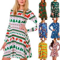 Mulheres Xmas Impresso Vestido de Natal Vestidos Plaid camisa de manga longa Casual Vestidos Outono Inverno Tops Blusas Roupa Vestuário Costume C6999