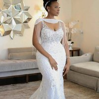 2020 Afryki ASO EBI Mermaid Wedding Dreses Z Wrap Tassel Frezowanie Kryształ Koronki Appliqued Sexy Sukienka Ślubna Południowoafrykańska