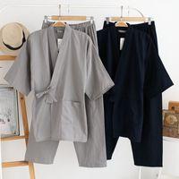 Qweek otoño pijamas masculinos conjuntos 100% algodón kimono ropa de dormir para hombre pijamas de estilo japonés hombres ropa para el hogar suave 2 piezas de alta calidad MX190724