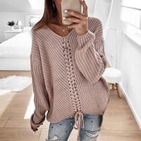 Litthing Lace Up gestrickten Pullover Frauen Pullover mit V-Ausschnitt beiläufige Herbst-Winter-Strickjacke 2019 Frauen Pullover Pullover Damen Pull Femme