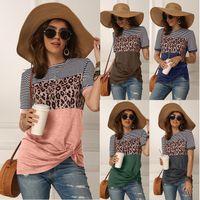 Мода Женщины Повседневная коротким рукавом лето Tshirt Leopard Stripes Строчка майка Топ тройники Femme Женская тенниска Одежда Soft