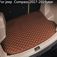Für Jeep Compass 2017-2019year s Auto-Anti-Rutsch-Trunk Mat wasserfestes Leder Teppich Auto-Kofferraum-Matte Flat Pad