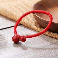 Bracciale in ceramica fatti a mano perle intrecciato rosso per le donne degli uomini di stile etnico Red monili fortunati regalo della stringa del braccialetto di modo