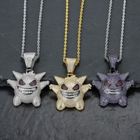 Full Rhinestone Gengar Iced Out Pendant Necklace Hip Hop Bli...