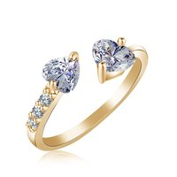 New White Gold Double Zircon Heart Open Rings For Women Wedd...