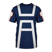 Benim Kahraman Academia Erkek Yaz tişört Midoriya Izuku 3D Baskı Okul Koleji Stil Boku no Kahraman Academia Mavi Tişörtlü T200224 Tops