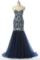 Темно-синие элегантные вечерние платья длинные русалки возлюбленные золотые вышивка с бисером плюс размер формальной вечеринки выпускные платья JMC53