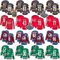capitales Washington 8 Alex Ovechkin Vegas Golden Knights 75 Ryan Reaves Colorado Avalanche 29 MacKinnon Dallas Stars 91 Seguin hockey jersey