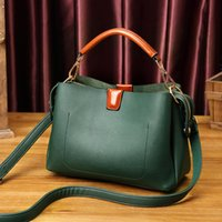 Natural Cowhide Leather Handbags Fashion Women Boston Genuin...